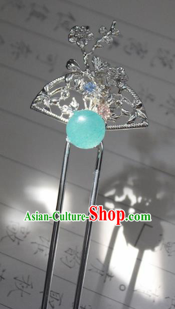 Traditional Chinese Ancient Hanfu Blue Chalcedony Hair Clip Princess Hairpins Handmade Hair Accessories for Women