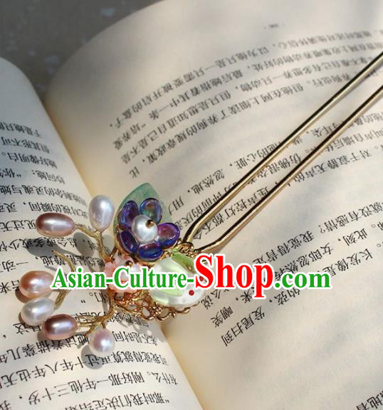 Traditional Chinese Ancient Hanfu Pearls Hair Clip Princess Hairpins Handmade Hair Accessories for Women