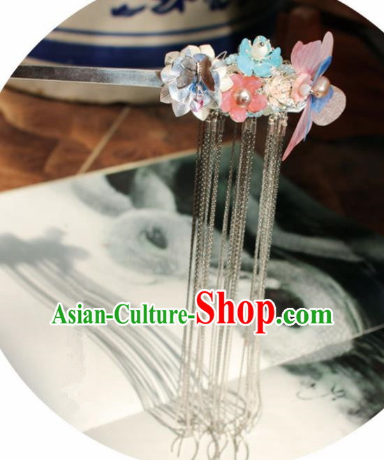 Chinese Ancient Hanfu Silk Butterfly Hair Clip Princess Hairpins Traditional Handmade Hair Accessories for Women