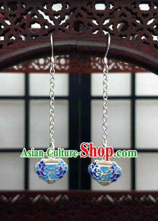 Traditional Chinese Ancient Wedding Hanfu Cloisonne Tassel Earrings Handmade Jewelry Accessories for Women