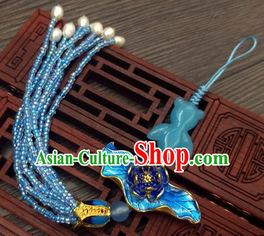 Traditional Chinese Ancient Blueing Lotus Brooch Handmade Hanfu Palace Breastpin Tassel Pendant for Women