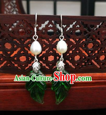 Traditional Chinese Ancient Hanfu Green Leaf Pearl Earrings Handmade Wedding Jewelry Accessories for Women
