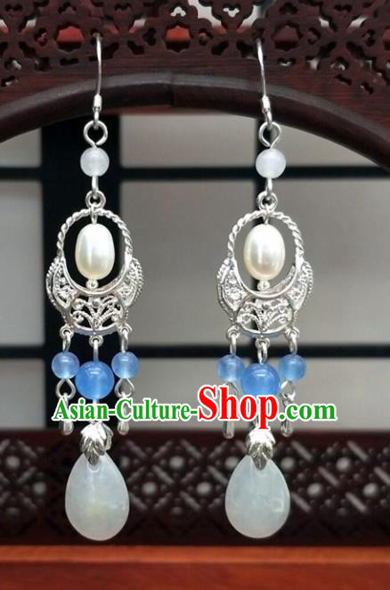Traditional Chinese Ancient Hanfu Pearl Shell Earrings Handmade Wedding Jewelry Accessories for Women