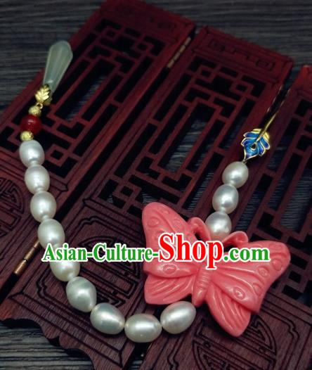 Traditional Chinese Ancient Pink Butterfly Pearls Brooch Handmade Hanfu Palace Breastpin Tassel Pendant for Women