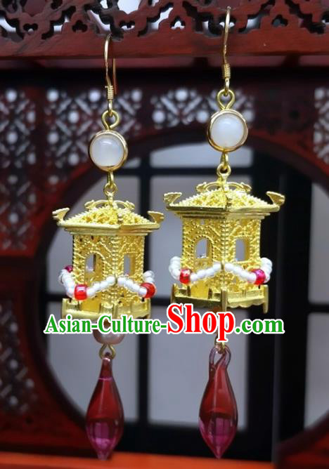 Traditional Chinese Ancient Hanfu Golden Palace Earrings Handmade Wedding Jewelry Accessories for Women