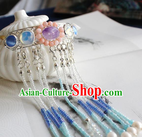Chinese Ancient Hanfu Purple Chalcedony Tassel Hair Clip Princess Hairpins Traditional Handmade Hair Accessories for Women