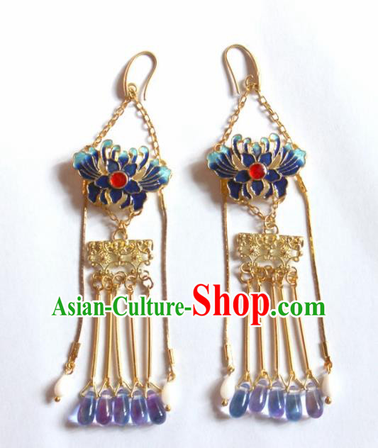 Handmade Chinese Ancient Princess Blueing Chrysanthemum Earrings Traditional Hanfu Jewelry Accessories for Women