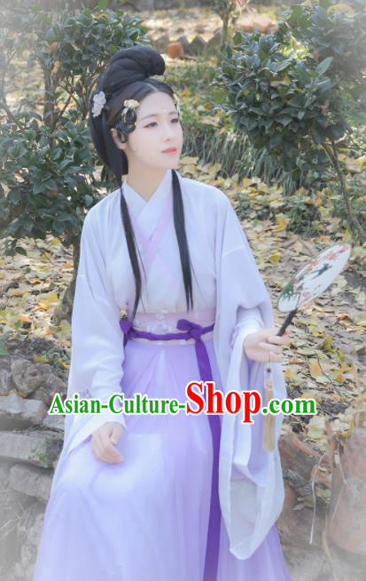 Chinese Traditional Ancient Historical Costume Jin Dynasty Court Princess Embroidered Hanfu Dress for Women
