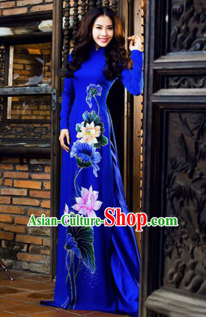Vietnam Traditional National Costume Printing Lotus Royalblue Ao Dai Dress Asian Vietnamese Cheongsam for Women