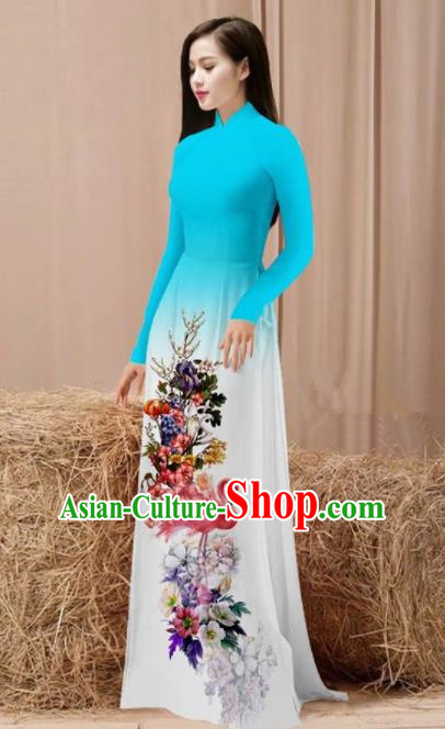 Vietnam Traditional National Costume Printing Flamingo Flowers Blue Ao Dai Dress Asian Vietnamese Cheongsam for Women