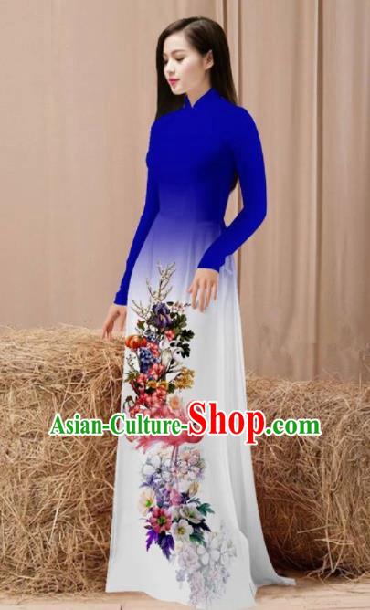 Vietnam Traditional National Costume Printing Flamingo Flowers Royalblue Ao Dai Dress Asian Vietnamese Cheongsam for Women