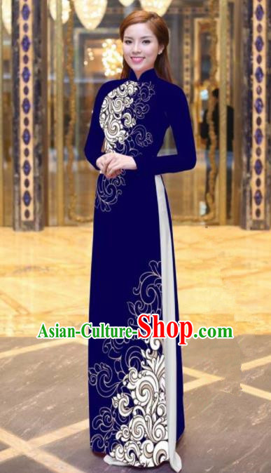 Vietnam Traditional Court Costume Printing Purple Ao Dai Dress Asian Vietnamese Cheongsam for Women