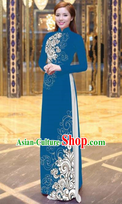 Vietnam Traditional Court Costume Printing Blue Ao Dai Dress Asian Vietnamese Cheongsam for Women