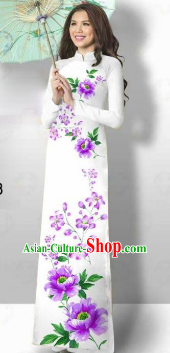 Vietnam Traditional Court Costume Printing Purple Flowers Ao Dai Dress Asian Vietnamese Cheongsam for Women