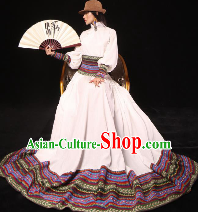Chinese National Mongol Nationality White Dress Traditional Mongolian Ethnic Costume for Women