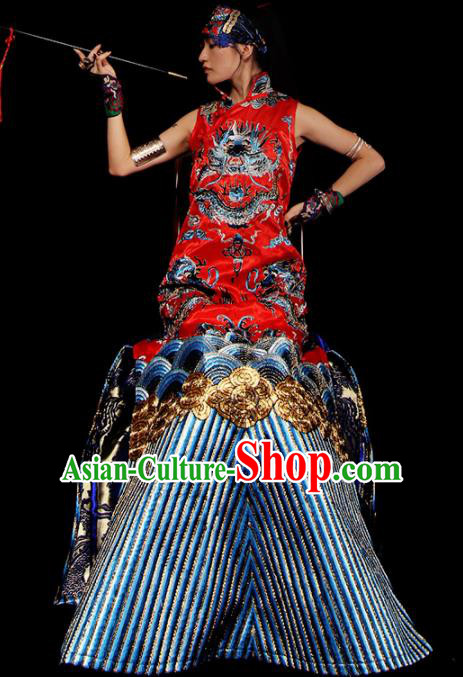 Chinese National Cheongsam Costume Traditional Tang Suit Red Brocade Qipao Dress for Women