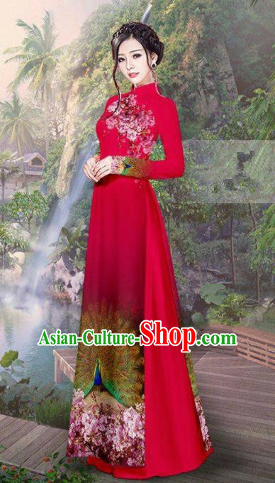 Vietnam Traditional Court Costume Printing Peacock Red Ao Dai Dress Asian Vietnamese Cheongsam for Women