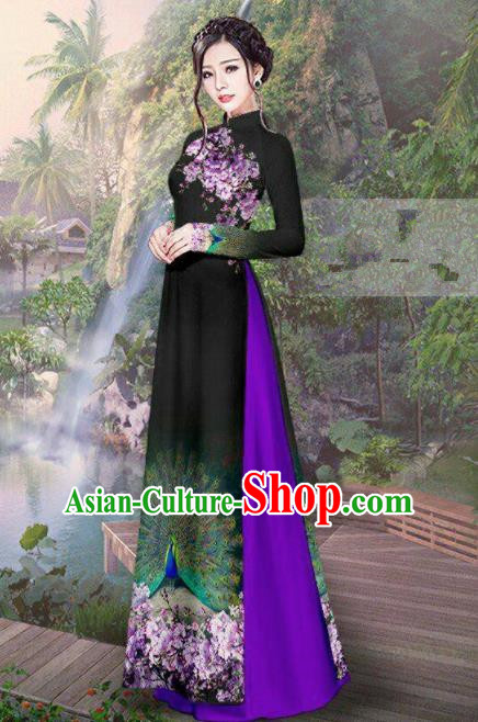 Vietnam Traditional Court Costume Printing Peacock Black Ao Dai Dress Asian Vietnamese Cheongsam for Women