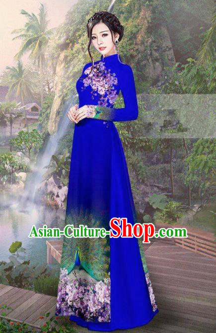 Vietnam Traditional Court Costume Printing Peacock Royalblue Ao Dai Dress Asian Vietnamese Cheongsam for Women