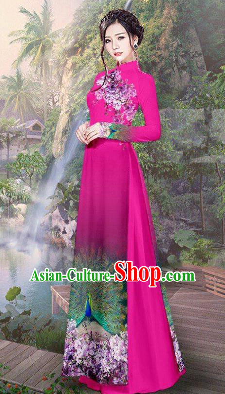Vietnam Traditional Court Costume Printing Peacock Rosy Ao Dai Dress Asian Vietnamese Cheongsam for Women