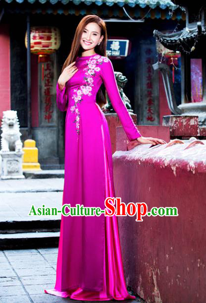 Vietnam Traditional Court Costume Printing Rosy Ao Dai Dress Asian Vietnamese Cheongsam for Women