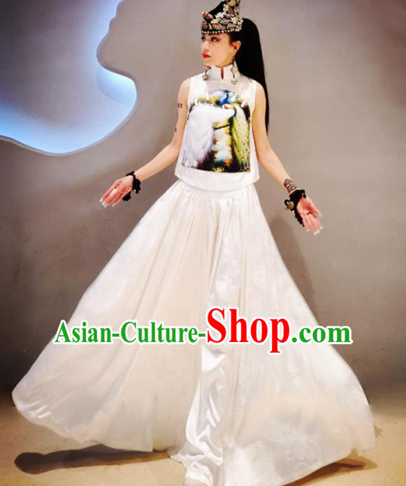 Chinese Traditional National Costume Printing White Cheongsam Blouse Tang Suit Qipao Shirt for Women
