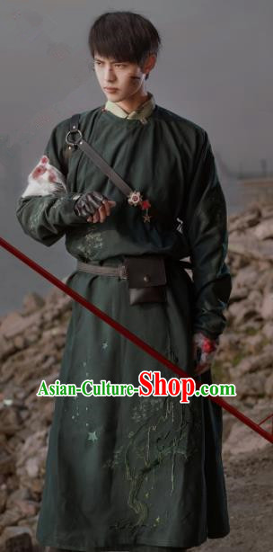 Chinese Traditional Tang Dynasty Historical Costume Ancient Swordsman Imperial Bodyguard Embroidered Robe for Men