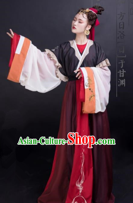Chinese Traditional Jin Dynasty Palace Princess Historical Costume Ancient Peri Swordswoman Embroidered Dress for Women
