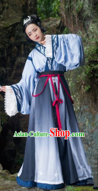 Chinese Traditional Han Dynasty Palace Princess Historical Costume Ancient Imperial Consort Embroidered Dress for Women