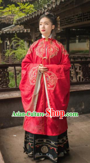Chinese Traditional Ming Dynasty Wedding Historical Costume Ancient Royal Dowager Embroidered Red Dress for Women