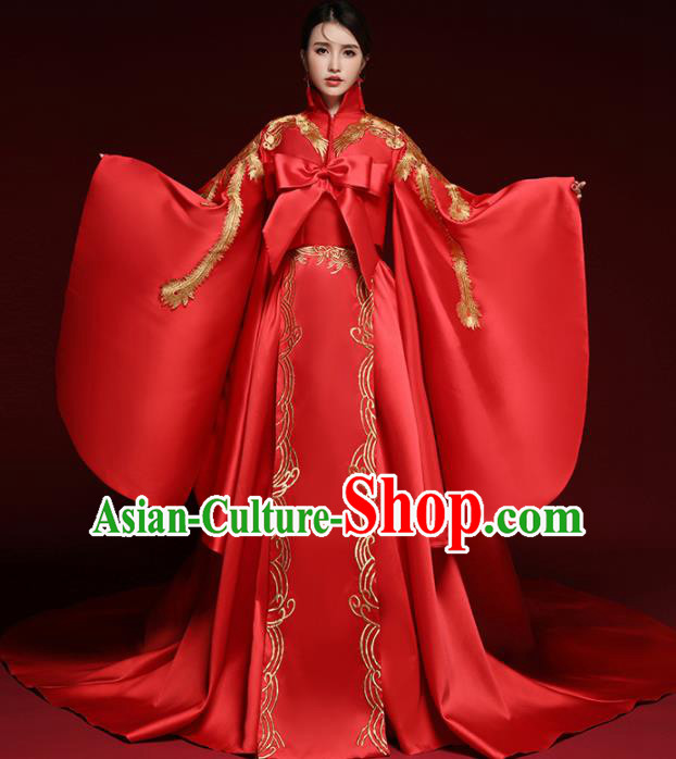 Chinese Traditional Wedding Red Costume Ancient Bride Xiu He Suit Embroidered Dress for Women