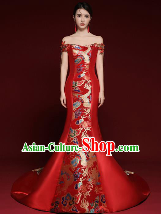 Chinese National Catwalks Red Brocade Trailing Cheongsam Traditional Costume Tang Suit Qipao Dress for Women