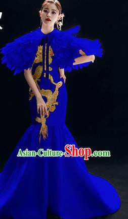 Chinese National Catwalks Royalblue Trailing Cheongsam Traditional Costume Tang Suit Qipao Dress for Women
