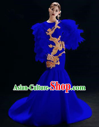 Chinese National Catwalks Embroidered Dragon Royalblue Trailing Cheongsam Traditional Costume Tang Suit Qipao Dress for Women