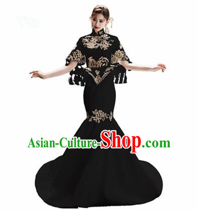 Chinese National Catwalks Embroidered Black Trailing Cheongsam Traditional Costume Tang Suit Qipao Dress for Women