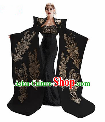 Chinese National Catwalks Embroidered Black Cheongsam Traditional Costume Tang Suit Trailing Qipao Dress for Women