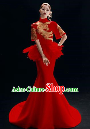 Chinese National Catwalks Embroidered Red Mermaid Cheongsam Traditional Costume Tang Suit Trailing Qipao Dress for Women