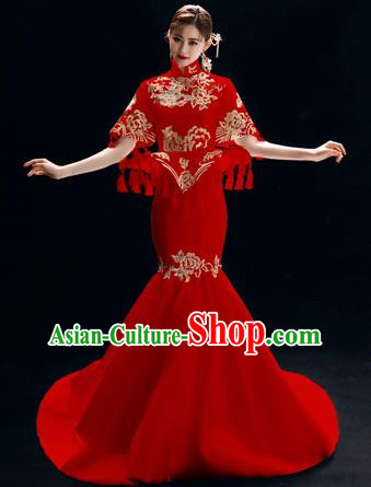 Chinese National Catwalks Embroidered Peony Red Cheongsam Traditional Costume Tang Suit Trailing Qipao Dress for Women