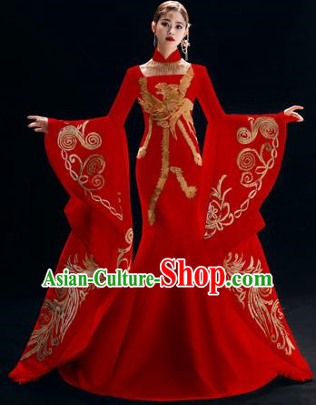 Chinese National Catwalks Embroidered Red Trailing Cheongsam Traditional Costume Tang Suit Qipao Dress for Women
