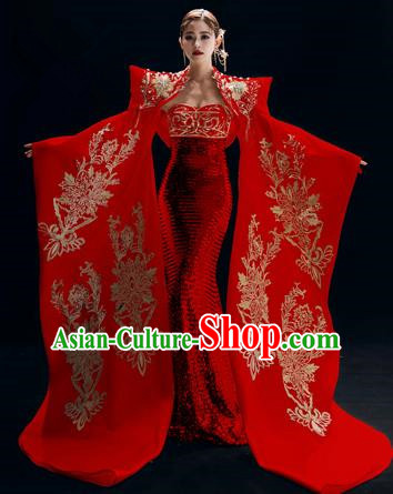 Chinese National Catwalks Red Trailing Cheongsam Traditional Costume Tang Suit Embroidered Qipao Dress for Women