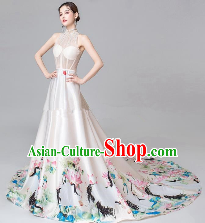 Chinese National Catwalks Printing Lotus White Trailing Cheongsam Traditional Costume Tang Suit Qipao Dress for Women