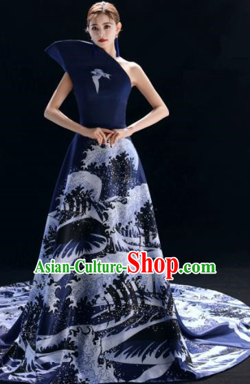 Top Grade Catwalks Compere Printing Trailing Navy Full Dress Modern Dance Party Costume for Women