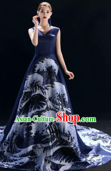 Top Grade Catwalks Compere Navy Trailing Full Dress Modern Dance Party Costume for Women