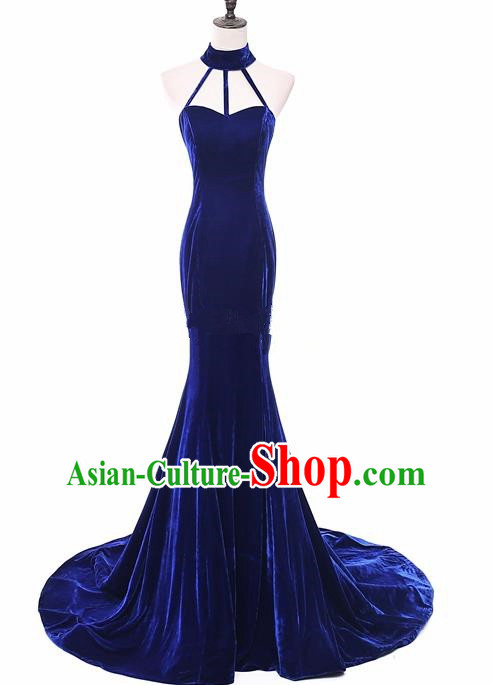 Top Grade Catwalks Chorus Royalblue Velvet Full Dress Compere Modern Dance Party Costume for Women