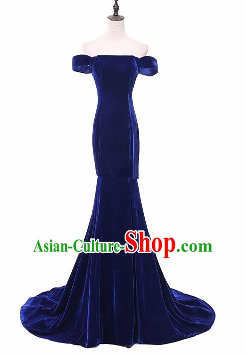 Top Grade Catwalks Chorus Royalblue Velvet Trailing Full Dress Compere Modern Dance Party Costume for Women