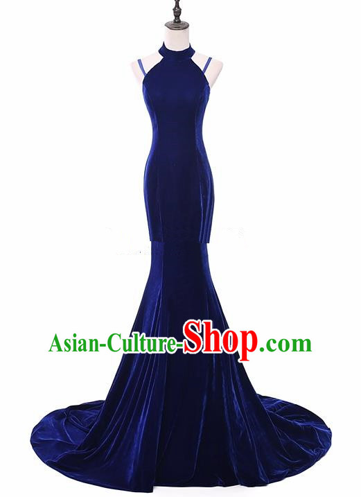 Top Grade Catwalks Chorus Compere Royalblue Velvet Trailing Full Dress Modern Dance Party Costume for Women