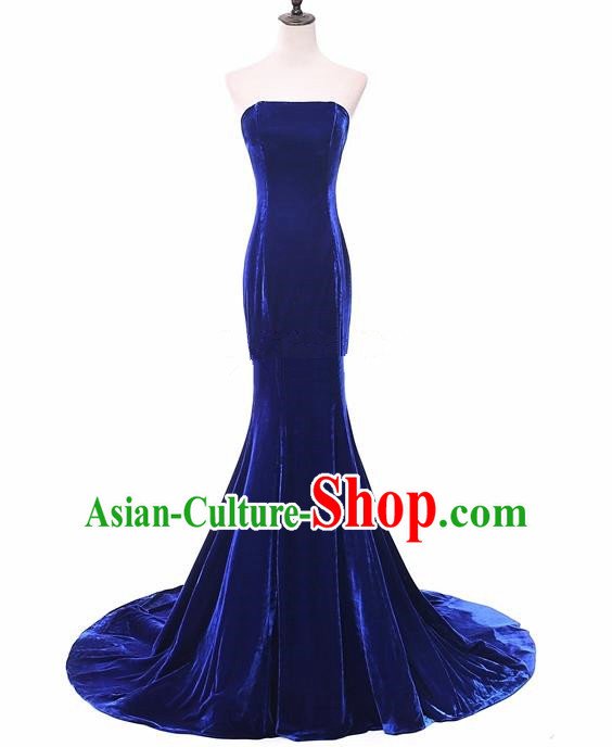 Top Grade Catwalks Chorus Compere Royalblue Velvet Strapless Full Dress Modern Dance Party Costume for Women