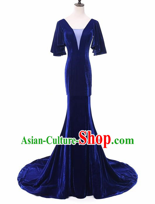 Top Grade Catwalks Chorus Compere Royalblue Velvet Full Dress Modern Dance Party Costume for Women