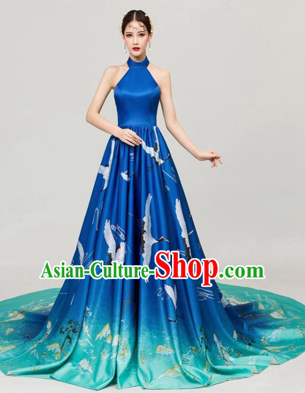 Chinese National Catwalks Printing Cranes Blue Trailing Cheongsam Traditional Costume Tang Suit Qipao Dress for Women