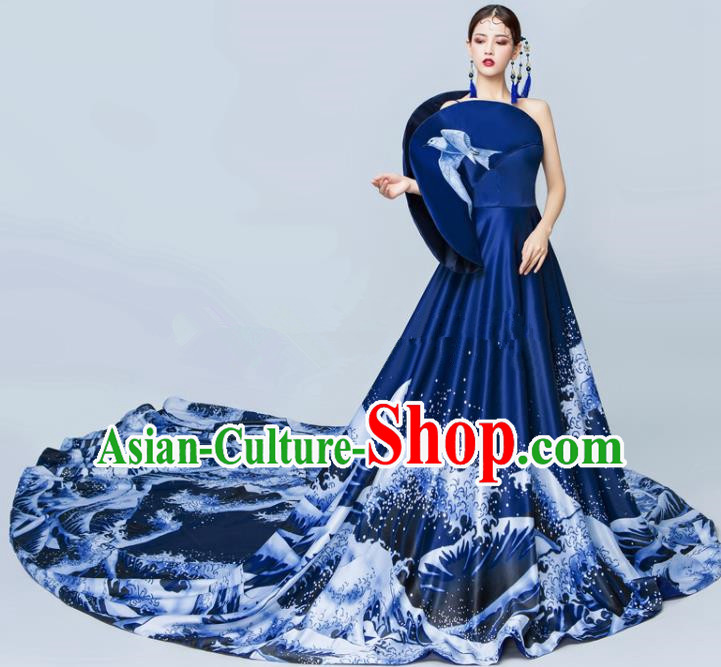 Top Grade Catwalks Royalblue Trailing Full Dress Chorus Compere Modern Dance Party Costume for Women